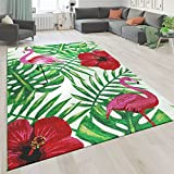 Paco Home Kurzflor Wohnzimmer Teppich Greenery Design Blumen Flamingo Weiß Rot Grün, Grösse:80x150 cm
