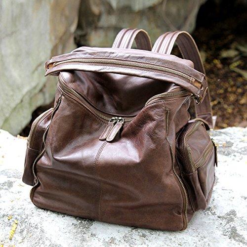 Grande capacité à la mode en cuir artisanal seaux d'innovation campus original sac à dos de voyage Brown
