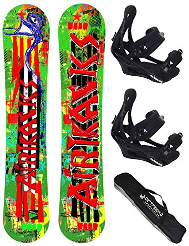 AIRTRACKS SNOWBOARD SET / ONE LINE SNOWBOARD ROCKER + SOFTBINDUNG SAVAGE + SB BAG / 146 156 / cm
