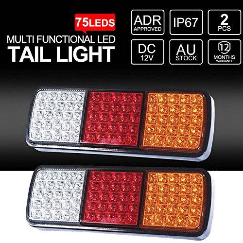Rokoo 2 Pcs LED Feu arrière 12V Frein Inverse 75LEDs Remorque Camion Bateau Lumières