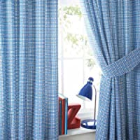 Just Kidding Cheeky Check Pencil Pleat Lined Curtains & Tie Backs, Blue, 168 x 183 Cm