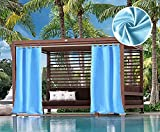 UniEco Outdoor Vorhang Schlaufengardinen Gartenlauben Balkon-Vorhänge Verdunkelungsvorhänge Wasserdicht Mehltau beständig für Pavillon Strandhaus, 1 Stück,132x215cm,Hellblau