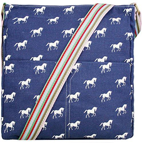 Miss Lulu Damen Leinwand Tasche Schultertasche Cross Body Messenger Bag Tupfendruck Elefant Katzen Eule Blumen Gepunktet Schmetterling Schulranzen Satchel Horse Navy