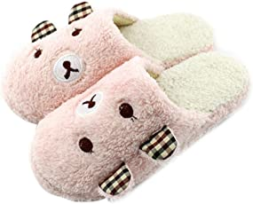 Yourig-in Cute Bear Winter Warm Antiskid Slippers Soft Plush Indoor Couple Home
