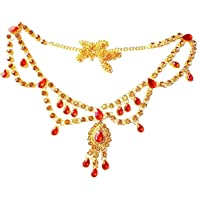 Project Luxe Traditional Gold Plated Kamarband for Women and Girls - Waist Hip Chain with Beautiful Gold & Red Color…
