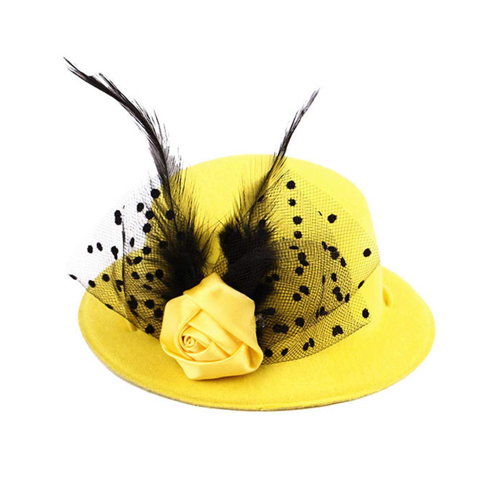 Wilk Pet Mini Top Hat Fascinator Party Cap Noble Pet Accessory Dog and Cat Poodles Top Hat (Yellow Feather)