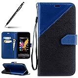 Uposao Handyhülle für Huawei Honor 7X, Wallet Case Flip Hülle Handytasche Ledertasche Lederhülle im Bookstyle für Huawei Honor 7X, Jungen Frauen Männer Vintage Mischfarbe Schutzhülle Klapphülle Schlanke Leder Brieftasche Handytasche Lederhülle Ledertasche Schutzhülle Flip Tasche Klapphülle [Standfunktion] [Kartenfach] [Magnetverschluss] für Huawei Honor 7X + 1 x Schwarz Touchstift,Schwarz Blau