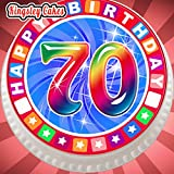 vorgeschnittenen Essbarer Zuckerguss Cake Topper, 19,1cm Runde, bunte Geburtstagskarte zum 70. Geburtstag 70