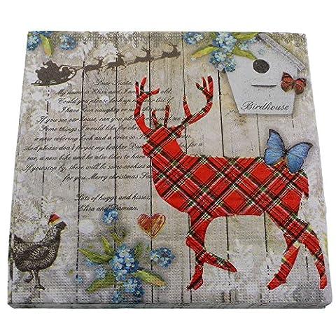Serviettes Pack économique (Lot de 40) Renne Père Noël d'hiver Noël Rouge Vert Beige sable 33x 33cm décoration de table
