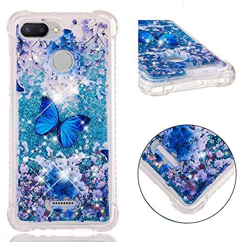 HopMore Compatible con Funda Xiaomi Redmi 6 / Redmi 6A Silicona 3D Glitter Liquido Brillante Purpurina Transparente Carcasa Resistente Ultrafina Case Cover Antigolpes para Mujer Niña - Mariposa Azul