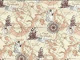 Minerva Crafts Nostalgie Landkarte Print Baumwolle Popeline