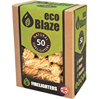 Eco Blaze Natural Firelighters - 50 Box - Spruce Wood Wool Coated Natural Wax. Fire Starters For Wood Burners, Fireplaces, Stoves, Lumpwood Charcoal, Chimeneas and Campfires