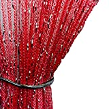 AYG 1pcs Glitter String Curtain Panel Window Curtain Tassel fly screen(Big Red)