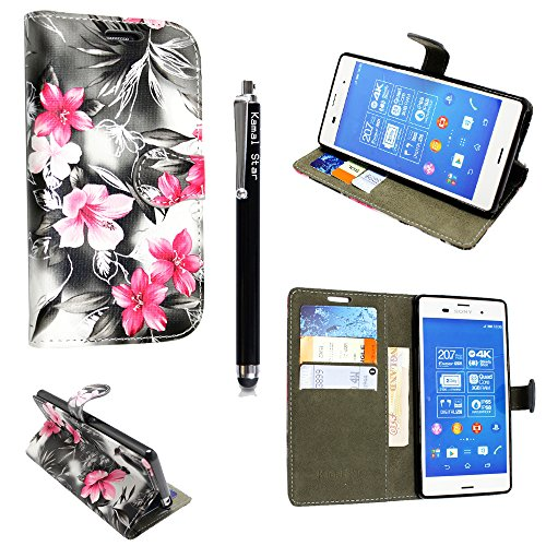 für Sony Xperia X Compact / Mini Hülle, Kamal Star® PU Leder Flip Case Schutzhülle + Stylus (Pink Flower Dark Grey Book)