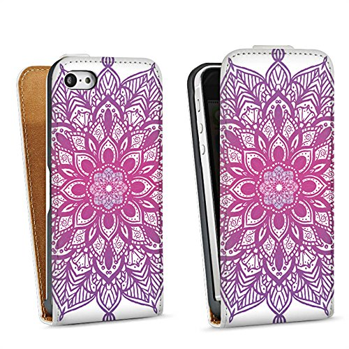 Apple iPhone 5 Housse Outdoor Étui militaire Coque Mandala Été Rose vif Sac Downflip blanc