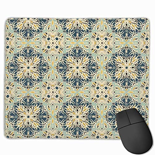 Whecom Gaming Mauspad Schwarz, Deep Teal Cream Sage Green Yellow Ochre Medallions Gaming Mouse Pad Non-Slip Rubber Mouse Mat for Computers Desktops Laptop 9.8