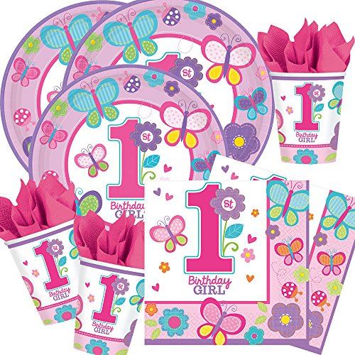 Geburtstags-party Mädchen (48-teiliges Party-Set 1. Geburtstag Mädchen Sweet Birthday Girl - Teller Becher Servietten mit Schmetterlingen und Blumen für 16 Personen)