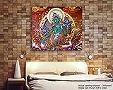 Tamatina Thangka Leinwand Malerei - traditionelle Kunst - grüne Tara Göttin - Stammes-Gemälde