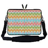 Meffort Inc 15 15.6 inch Neoprene Laptop Sleeve Bag Carrying Case with Hidden Handle and Adjustable Shoulder Strap - Colorful Chevron Pattern