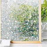 Homein 3D Fensterfolie Window Film selbstklebend Milchglasfolie Fenster Sichtschutzfolie blickdicht Dekorfolie Glasaufkleber statisch Selbsthaftend ohne Kleber mit Motiv UV Schutz Kiesel 44.5 x 200 cm