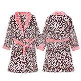 Damen Luxus Fleece Morgenmantel Warm Weichen Leoparden Print Robe Sexy Sling Kurzen Rock Zweiteilige Nachtwäsche Bademantel,Leopardprint-M