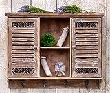 more-decor-de Aussergewöhnlicher Hängeschrank Küchenschrank Wandschrank Wandregal im Shabby Chic Landhaus Vintage Stil - 2 Türen - 6 Fächer - 4 Haken - Braun - Holz