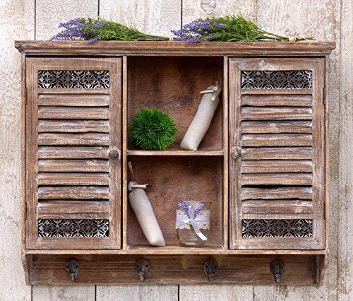 Aussergewöhnlicher Hängeschrank Küchenschrank im Shabby Chic Stil - 2 Türen - 6 Fächer - 4 Haken - Braun - Holz