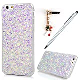 iPhone 6 Case,iphone 6S Case, Badalink Bling Glitter Soft Gel Clear Shock Absorption TPU Case Luxury Shinny Sparkle Ultra-Slim Silicone Case Back Shell for iPhone 6S / iPhone 6 with with 1 Touch Pen & 1 Dust Plug,Light Purple