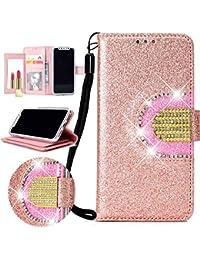 Nadoli Spiegel Glitzer Hülle für Huawei P20 Lite,Bling PU Ledertasche Trageschlaufe Wallet Case Brieftasche Hülle Handyhülle Flip Case Cover für Huawei P20 Lite,Rose Gold