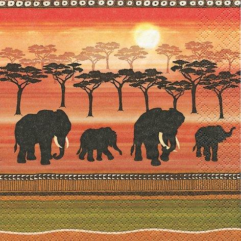 20 Servietten African Spirit – Afrikanischer Geist / Afrika / Elefanten 33x33cm