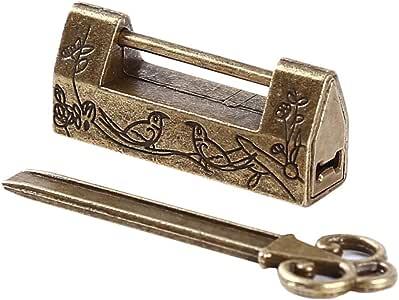 Password Lock für Koffer Antikes antikes Vorhängeschloss mit Schlüssel