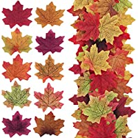 YANGTE 500Pcs Artificial Maple Leaves Autumn Colors - Mixed Fall Colored Leaf Great Autumn Table Scatters for Weddings, Events, Art Scrapbooking and Decorations (10 Colors)