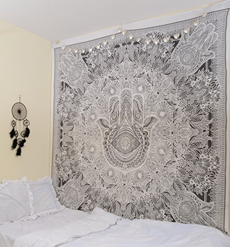 Hamsa Indian Hand Mandala Hang on Hippie Glorafilia Wall, Bohemian Wall Hanging Tapestry