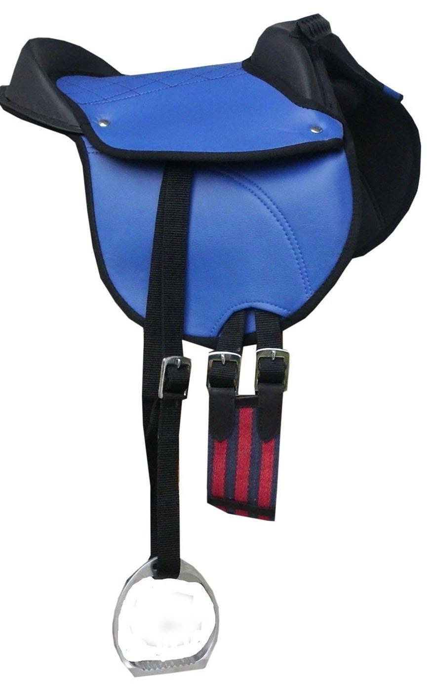 Amesbichler Ponysattel Shettysattel Ponyreitkissen Reitkissen mit Zubehör passend komplettes Set blau 12″ | Pony Reitpad auch für Holzpferde geeignetes Sattelset | Cub Saddle Set