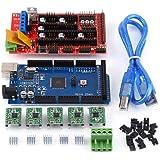 3D Drucker Motherboard Kit,3D Drucker RAMPS 1.4 Controller + Mega 2560 R3-Platine +5 pcs gelötete A4988 Treiber,5 pcs Kühlkörper,USB Kabel,19 pcs Jumper, für Arduino RepRap 3D Druckersatz