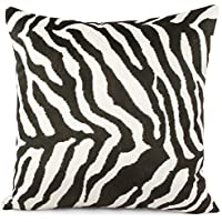 Chloe e oliva Walk On The Wild Side Luxe in finta pelliccia Zebra Square cuscino decorativo, raccolta e similpelle, Poliestere, Nero/Bianco, 20