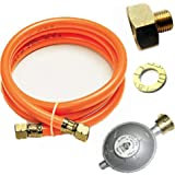 "J+N Gasslang drukregelaar set 150 cm / 50 mbar Phönix PH-A12.14 overgang 1/2""R x 1/4"" lks LPG-adapter van koper voor gaskoker"