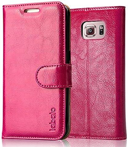 Coque Samsung Galaxy S6, Labato Housse de Protection Etui Pour Samsung Galaxy S6 En Cuir Portefeuille Style avec Support Fonction et Fermeture Magnétique Lbt-SM6-01Z33-FR Rose