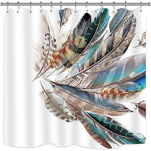 D-M-L Animal Feather Duschvorhang Set Teal und Badezimmer Stoff Panel Polyester wasserdicht mit -