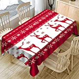 Ansenesna Tischtuch Rot Weihnachten Rechteckig Ornament Tischdecke Stoff Weihnachtlich Gartentischdecke (Rot, 150x260cm)