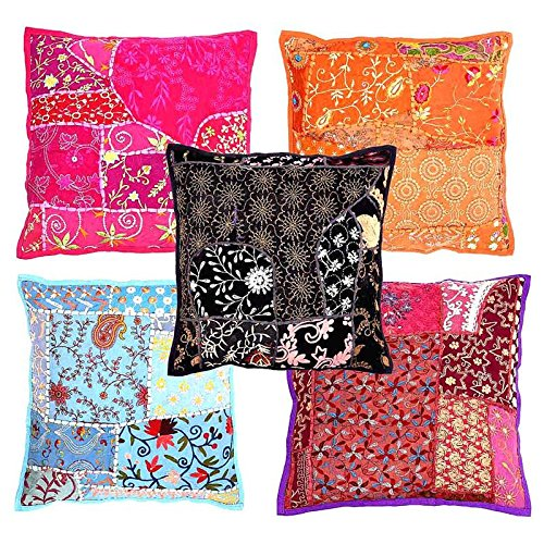 Indigocart Jaipuri Handmade Lace Patchwork Cushion Cover 5 Pc. Set 126