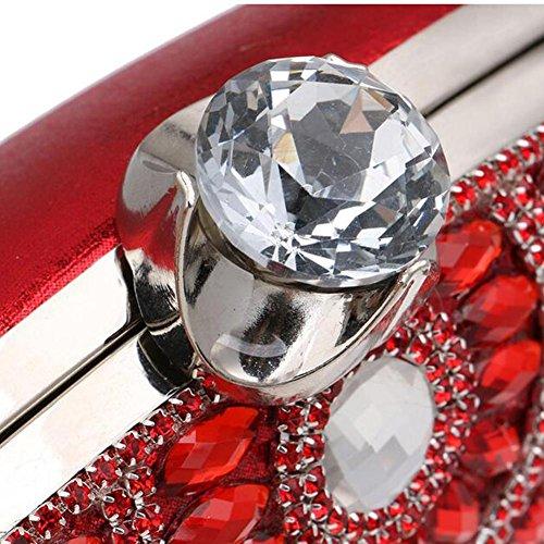 NAOMIIII Frauen Diamant Quasten Formale Partei Hochzeit Abend Sparkly Clutch Tasche Red