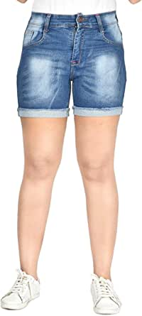 Areal Fashion Solid Girls Women's Slim Fit Stretchable Denim Mid Rise Ripped Shorts