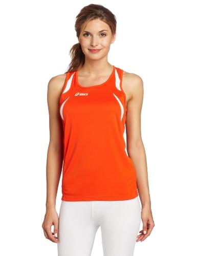 ASICS Interval Singlet Damen, Damen, orange/weiß, X-Large (Womens Track Singlet)