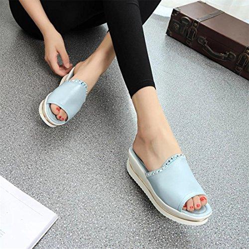 Malloom® Sandalen, Frauen Sommer Kunstleder Sandalen Mode Solid Beach Slides Hausschuhe Damen Schuhe Hellblau