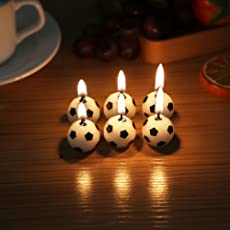 Gifting Square Kids Football Shape Candle Best Birthday Cake Decoration (Pack of 6)