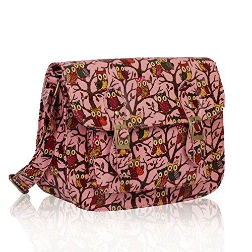 TrendStar Damen Weinlese Tupfen Falles Faux Leder Umhängetasche Unisex Schultaschen Crossbody Schul College Taschen B - Rosa