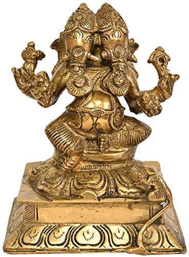 Exotic India Eq17 deux têtes Ganesha (rare Présentation)