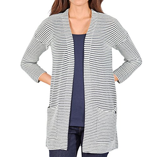 TOM TAILOR Damen Striped Long Cardigan Strickjacke, Elfenbein (Whisper White 8210), 38 (Herstellergröße: L) -