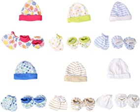 BAYBEE Baby Mittens Booties Cap Set (Multicolour) - Pack of 6